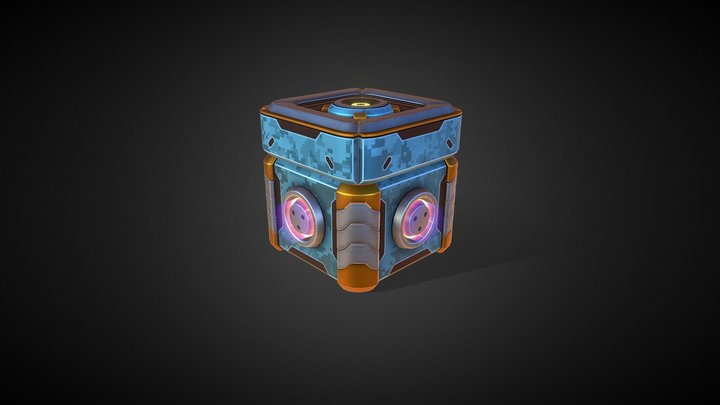 Loot Box animated - Military skin 3D Model