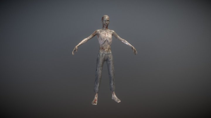 Rigged Skinny Zombie 3D Model