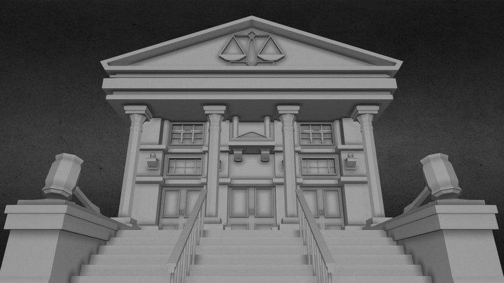 LOW POLY COURT BUILDING 3D Model