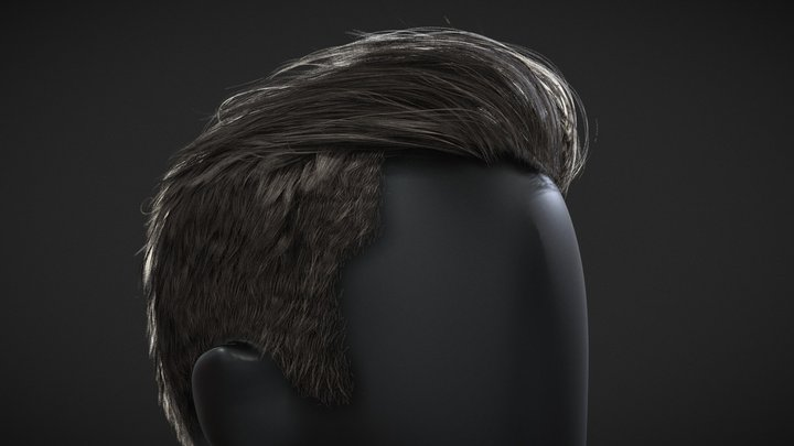 Male haircut-Long On Top Short Back And Sides 3D Model