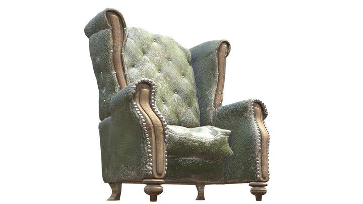 Moldy Green Leather Armchair 3D Model