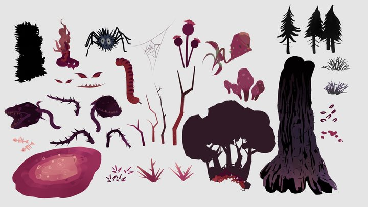 Dark Forest -  style elements pack collection 3D Model