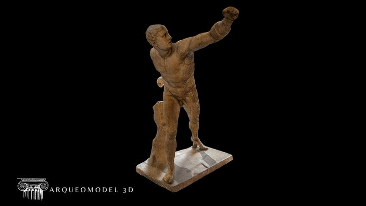 The Borghese Gladiator LOUVRE (PARIS) HIGH POLY 3D Model