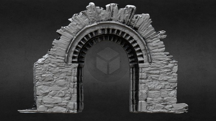 KD040-002003 - Church - Romanesque Doorway 3D Model