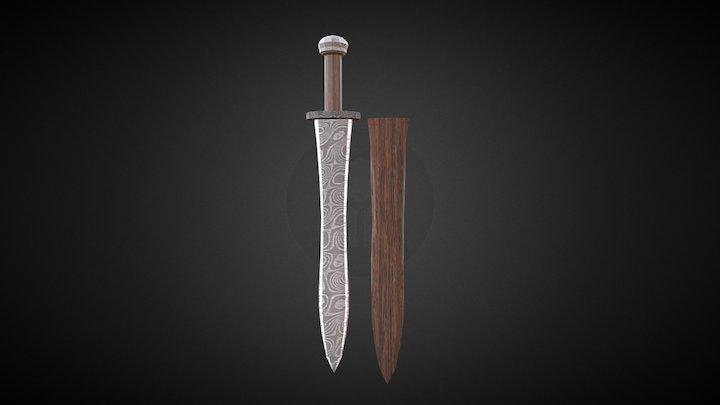LOW POLY Xiphos Sword Damascus Steel 3D Model