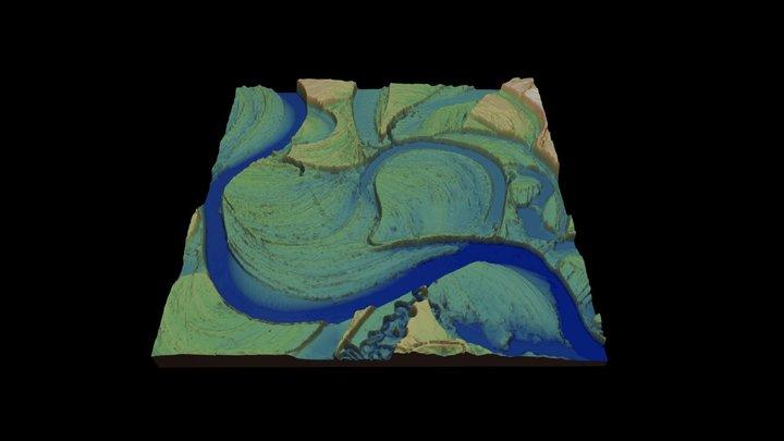 Ivalo river (Finland) DEM detail 3D Model