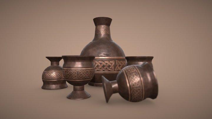 Medieval Bronze Jar and Goblets 3D Model