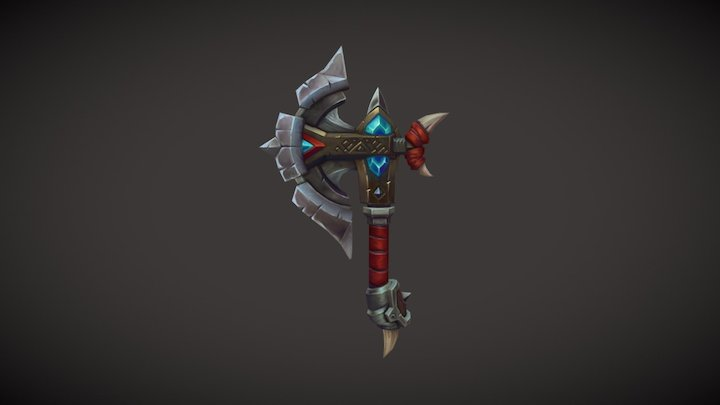 Hand Painted Axe 3D Model