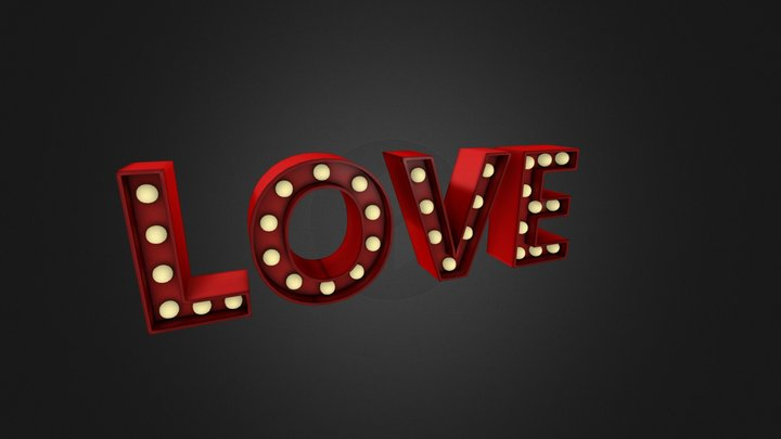 LOVE Marquee Text 3D Model