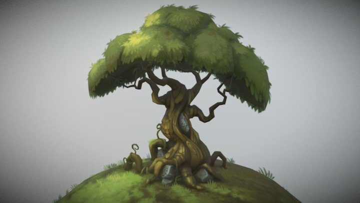 Tree and Hill 3D Model