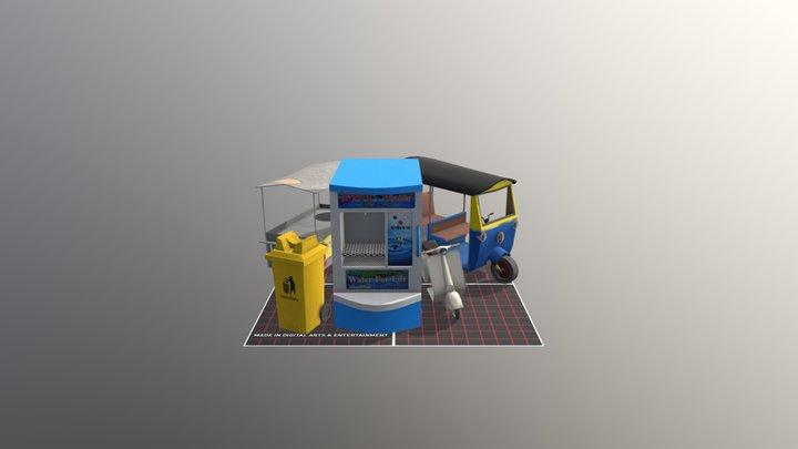 qweek, 5 finished props 3D Model