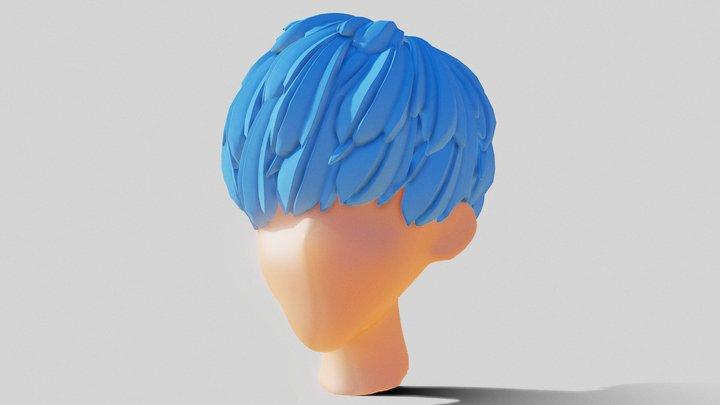 Stylized Anime Hair 3D Model