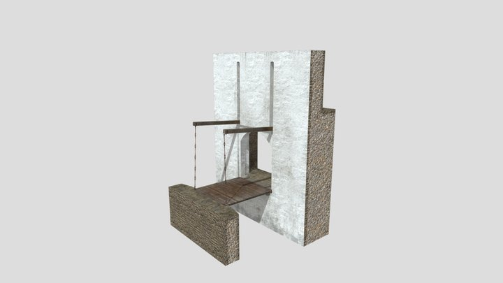 14th century drawbridge with gaffs 3D Model