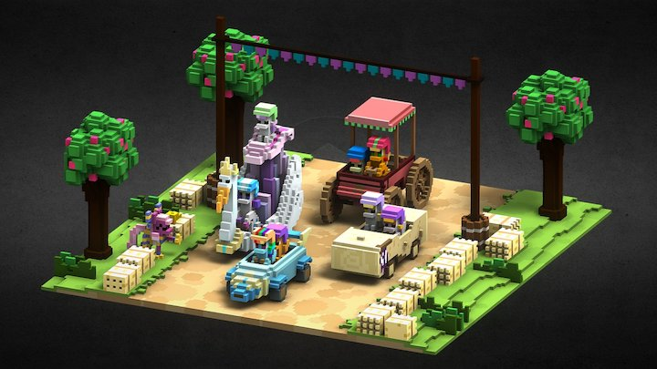 The Cart Before the Ponies (MagicaVoxel Bake) 3D Model