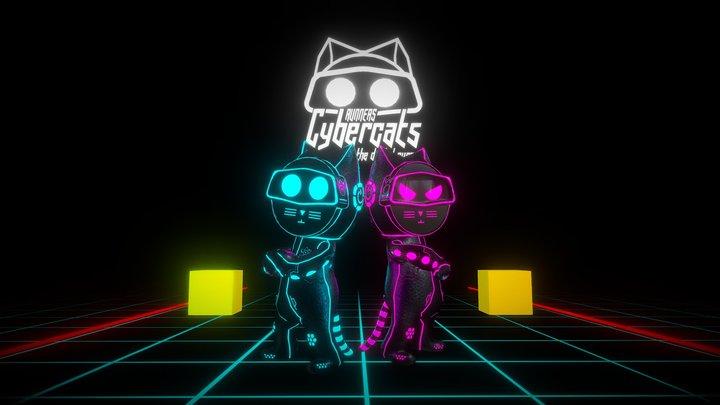 Runner Cybercat Game Scene 3D Model
