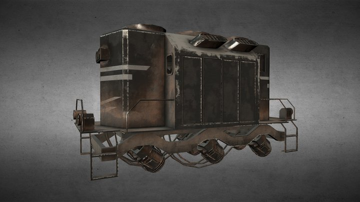Lowpoly Dieselpunk Train 3D Model