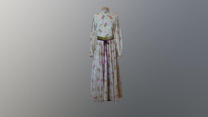 1970s Flora Day Dress 3D Model