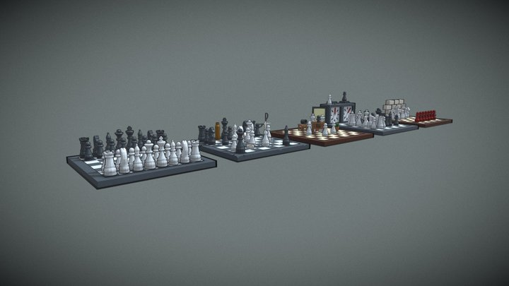Chess Five Versions 3D Model