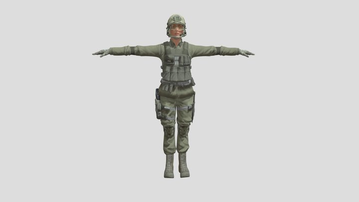 T-Pose Female Green Swat 3D Model