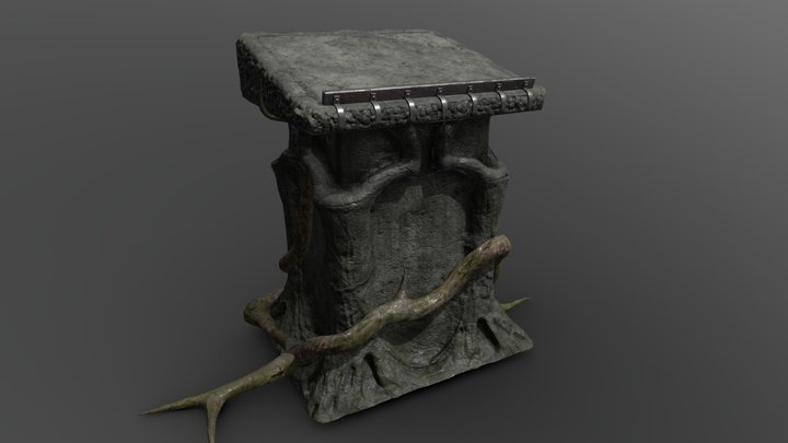 Ancient book pedestal 3D Model