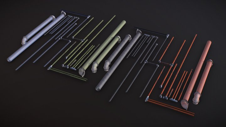 Rusty Industrial Pipe Kit 3D Model