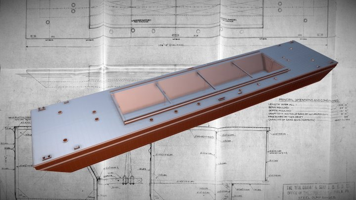ICC Steel Dump Barge -- Proposal #424 3D Model