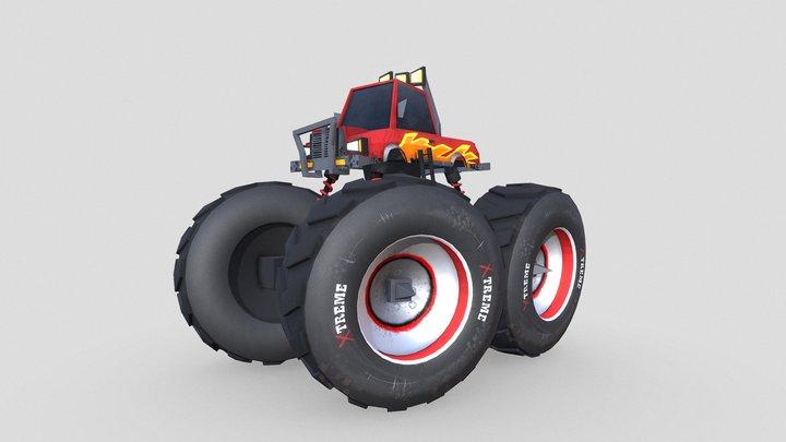 Stylized Monster Truck Rig 3D Model