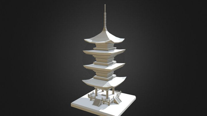Low Poly Feudal Japanese Pagoda 3D Model
