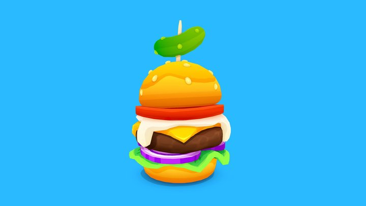 Stylized Burger 3D Model