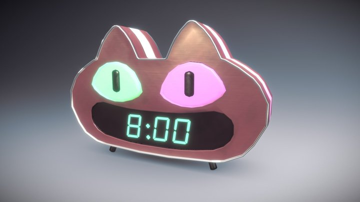 Cookie Cat Digital Clock - Steven Universe 3D Model