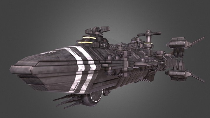 Terran Federation Rodger Young Cruiser Redesign 3D Model