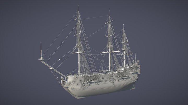 Spanish San Felipe triple decks ship 3D Model