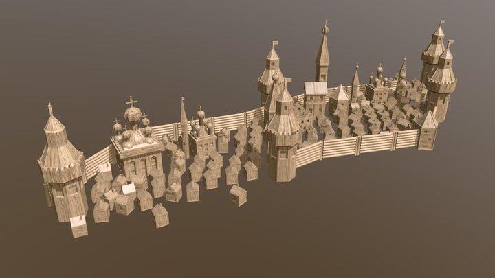 Древний деревянный кремль 3D Model