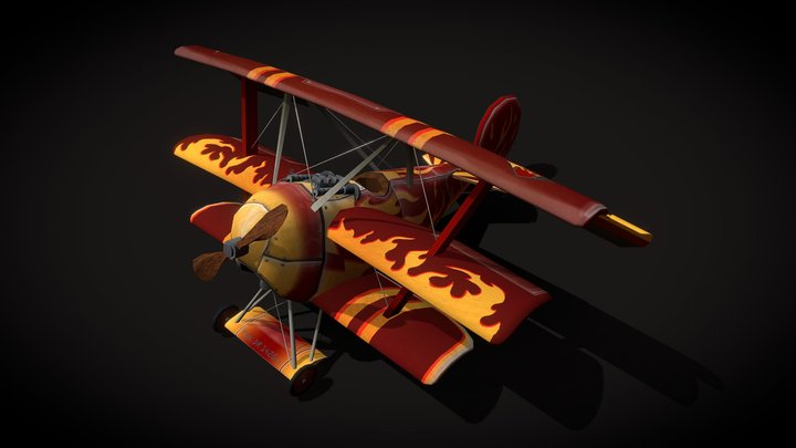 Fokker Dr1 Military Airplane 3D Model