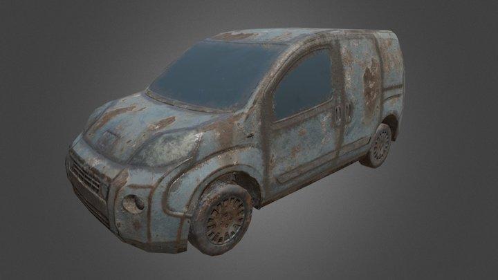 low poly rusted van 3D Model