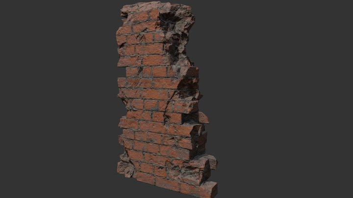 Broken Brick Wall part 3D Model