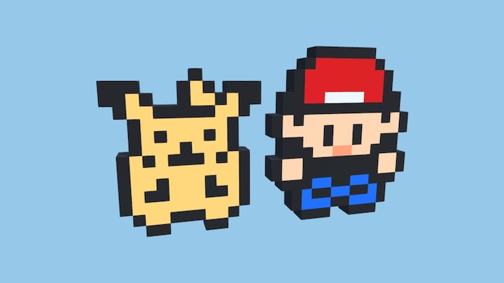 Pikachu and Ash 3D Model