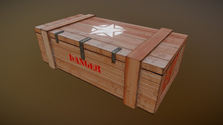 Wooden Military Crate 3D Model