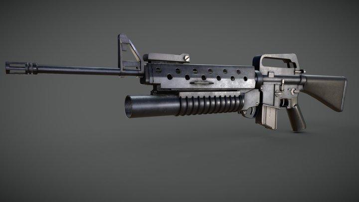 m16a3 m203 3D Model