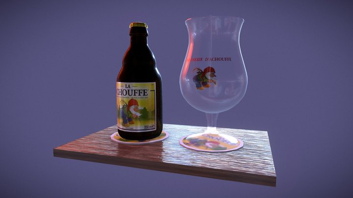 La Chouffe & glass 3D Model