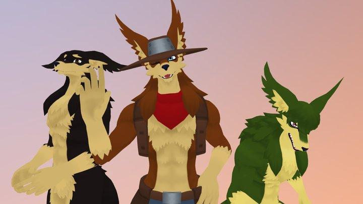 Coyote Model+Avatar Pack for VRChat 3D Model