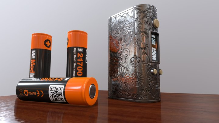 Vaping mod and batteries 3D Model