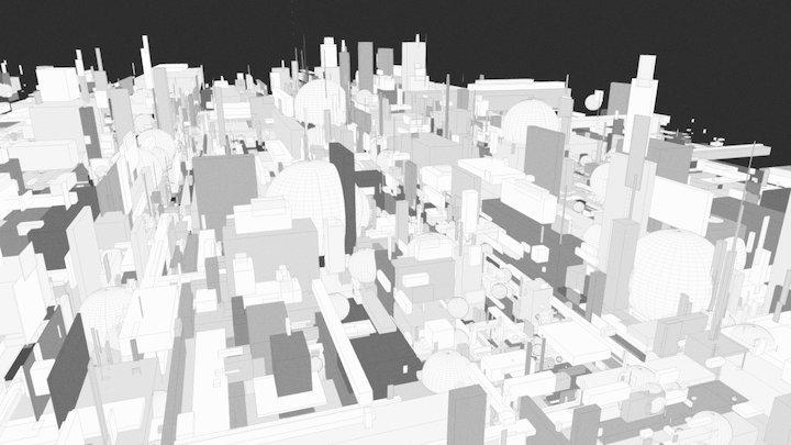 : futuristic industrial city : generative 3D Model