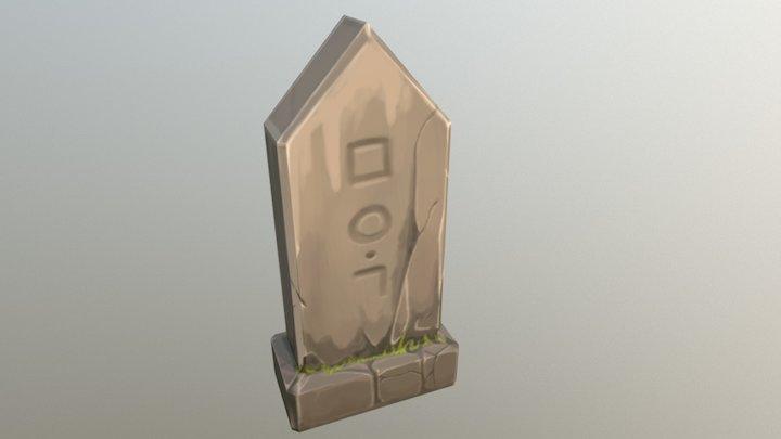 Handpainted Gravestone 3D Model