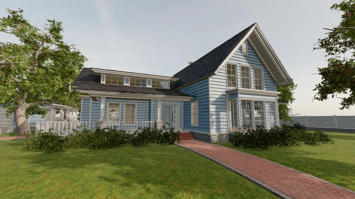 Classic Style Porch House Without Furniture 3D Model