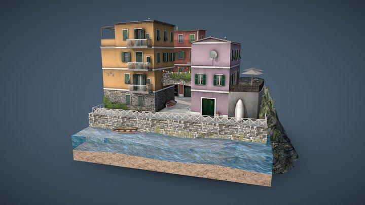 LowPoly Cityscene - Cinque Terre 3D Model