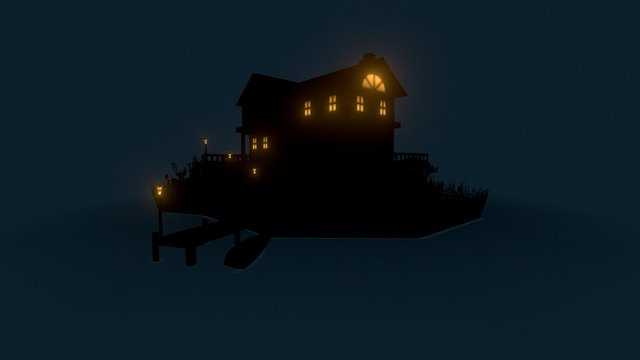 Friday500 - Spooky Building (Lake House) 3D Model