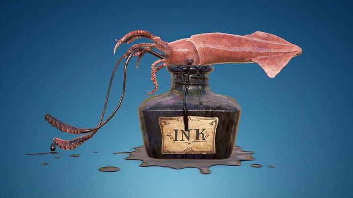 Squid Ink Bottle 3D Model