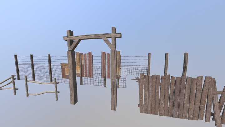 Modular Fence Pack Asset (one material) 3D Model