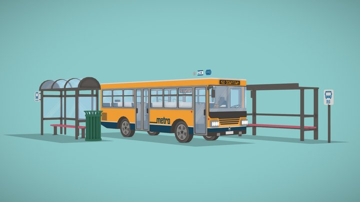 Stylized Bus and Bus Stop 3D Model